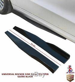 Universal Side Skirt Extension Blades Rocker Splitter 74cm Gloss Black-nsn1
