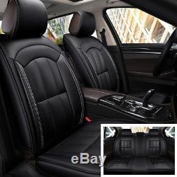 Universal Standard 5 Seat Car Seat Covers Leather Black (Rear + Front)-No pillow