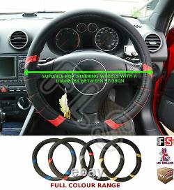 Universal Steering Wheel Cover Faux Leather Look Black/red 37 To 39cm-nsn1