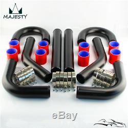UniversalL 2.75 70mm Aluminum Turbo Intercooler Piping Pipes Clamp Coupler Kit