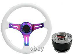White Neo Chrome TS Steering Wheel + Quick Release boss B29 for NISSAN